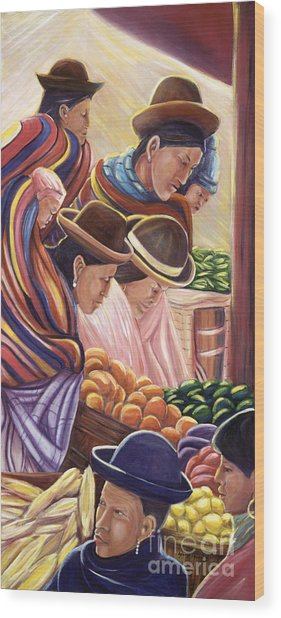 Vendors In La Paz Bolivia Wood Print by George Chacon