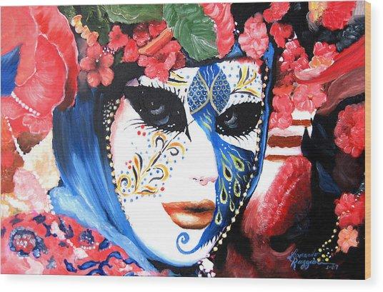 venetian carnevale mask III Wood Print