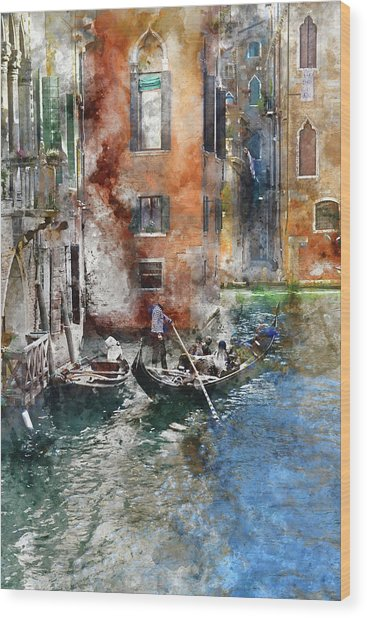 Venetian Gondolier In Venice Italy Wood Print