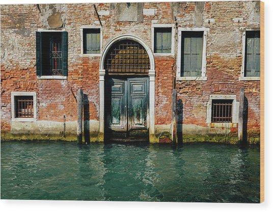 Venetian House On Canal Wood Print