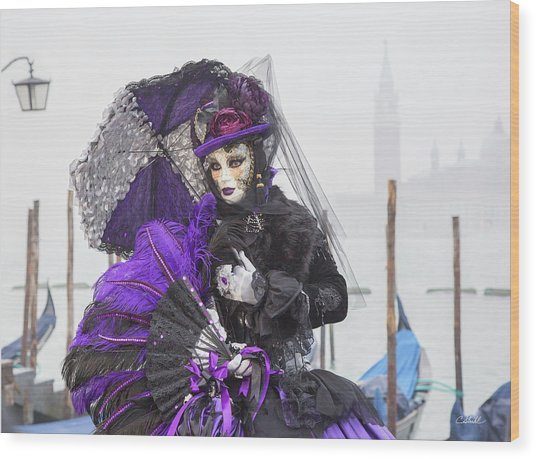 Venetian Lady In Purple Wood Print