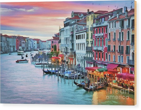 Venetian Sunset Wood Print