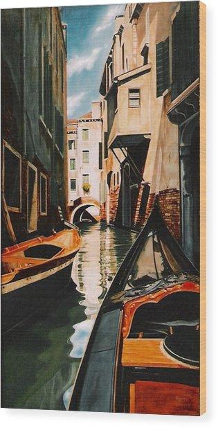 Venice - Gondola Ride Wood Print