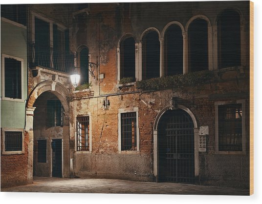 Wood Print featuring the photograph Venice Alley At Night by Songquan Deng