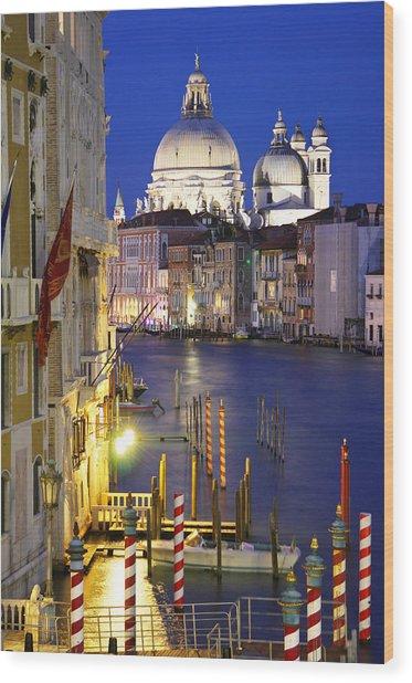 Venice At Night Wood Print by Dan Breckwoldt