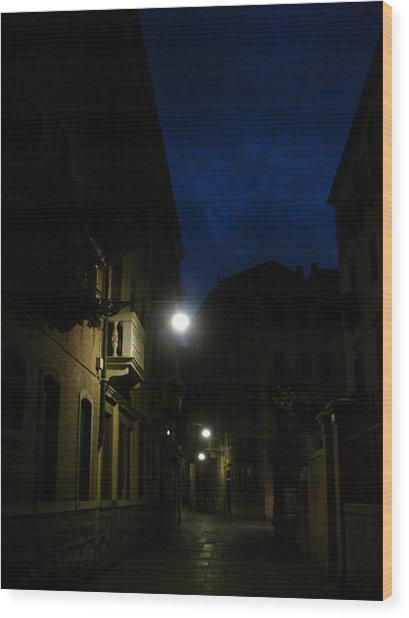 Venice At Night Wood Print by Jennifer Kelly