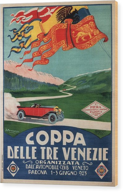 Venice Automobile Club Tournament - Vintage Illustrated Poster - Car Cruising Through Countryside Wood Print