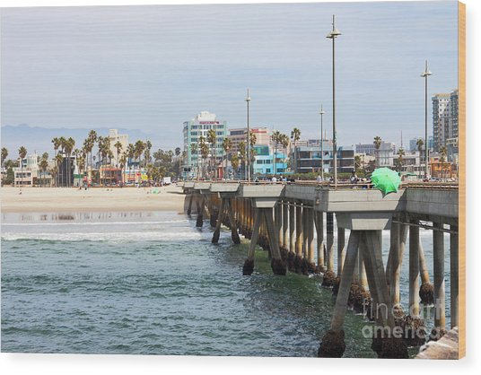 Venice Beach From The Pier Wood Print