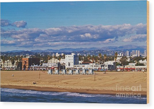 Venice Beach In Fall Wood Print
