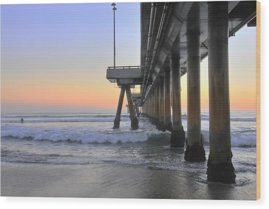 Venice Beach Pier Sunset Wood Print