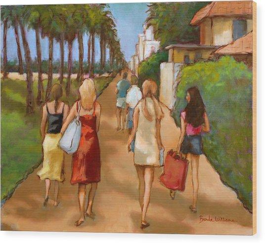 Venice Beach Promenade Wood Print by Brenda Williams