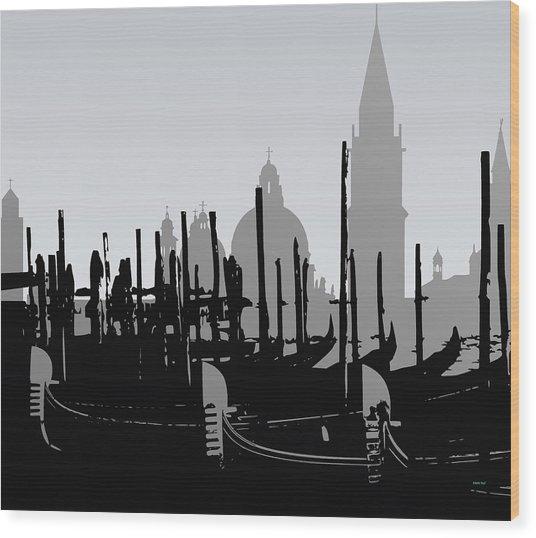 Venice Black And White Wood Print