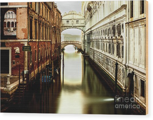 Venice Bridge Of Sighs Wood Print