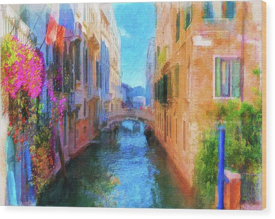 Venice Canal Painting Wood Print