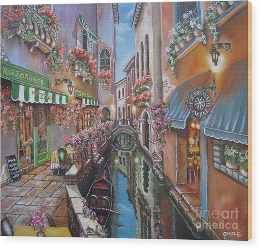 Venice Canal Reflections Wood Print by Elizabeth Gomez