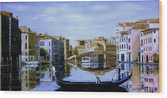 Venice Canal Ride Wood Print by Jim Horton