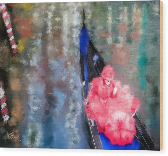 Venice Carnival. Masked Woman In A Gondola Wood Print