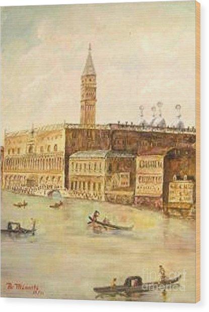 Venice From Grand Canal Wood Print by Nicholas Minniti