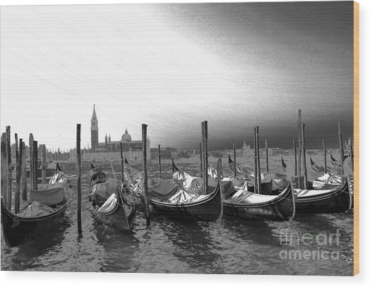 Venice Gondolas Black And White Wood Print