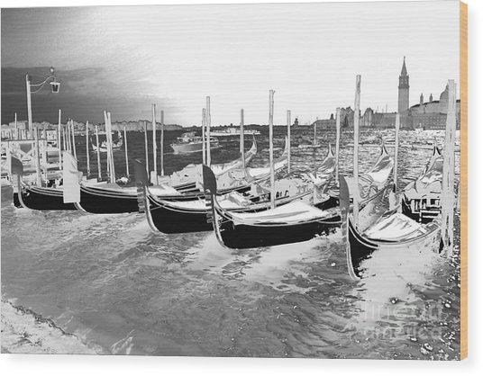 Venice Gondolas Silver Wood Print