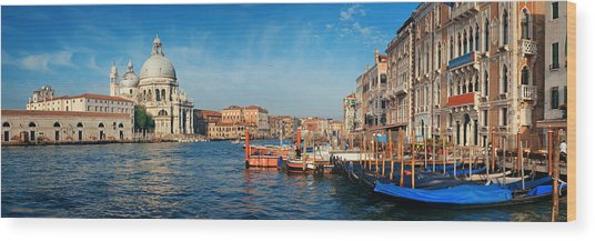 Wood Print featuring the photograph Venice Grand Canal Boat by Songquan Deng