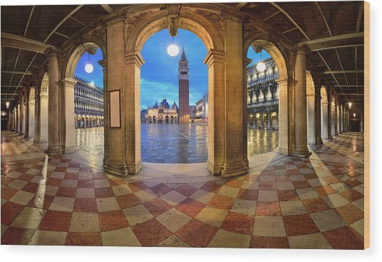 Wood Print featuring the photograph Venice Hallway by Songquan Deng