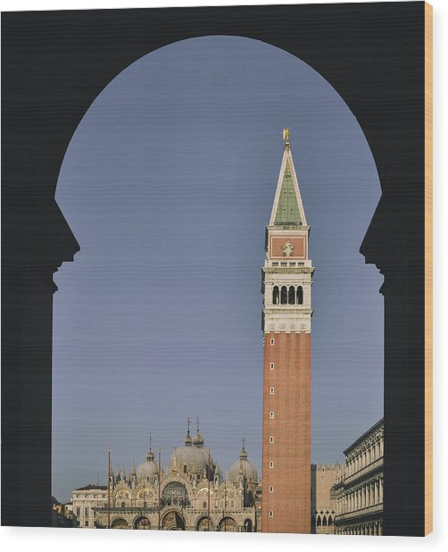 Venice In A Frame Wood Print