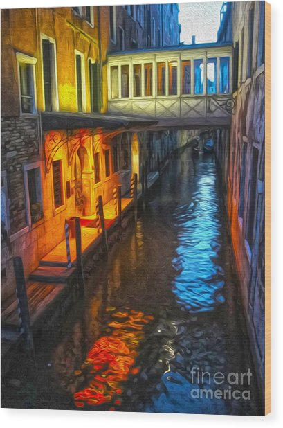 Venice Italy - Colorful Canal At Night Wood Print