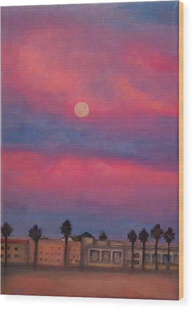 Venice Moonrise Wood Print by Pia Tohveri