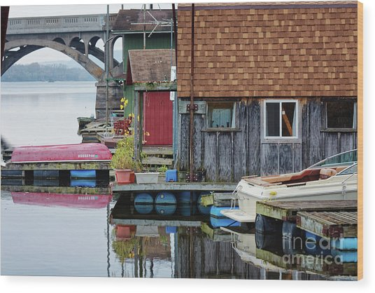 Wood Print featuring the photograph Venice On The Big Muddy Winona Mn Boathouses by Kari Yearous