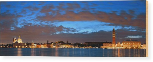 Wood Print featuring the photograph Venice Skyline Night Panorama View by Songquan Deng