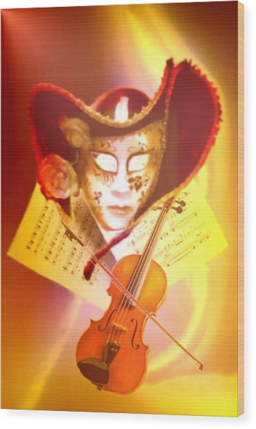 Venice Violinist Wood Print by Norman Reutter