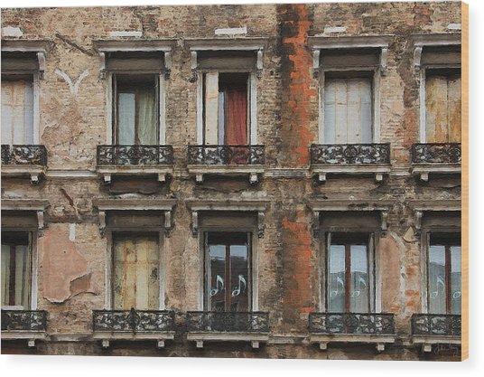 Wood Print featuring the digital art Venice Windows by Julian Perry
