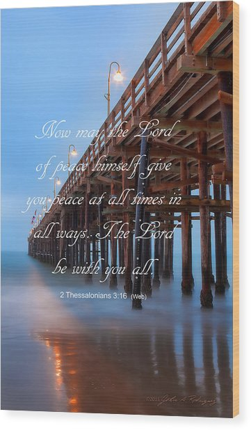 Ventura Ca Pier With Bible Verse Wood Print
