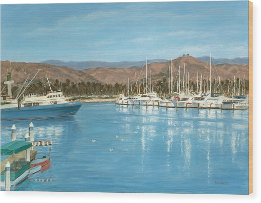 Ventura Harbor And The Two Trees Wood Print by Tina Obrien