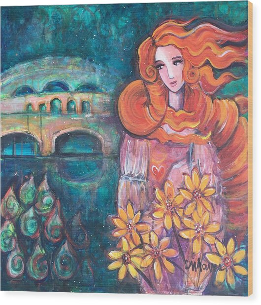 Wood Print featuring the painting Venus And Sunflowers by Laurie Maves ART