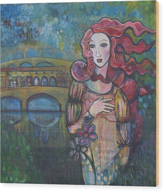 Venus And The Ponte Vecchio  Wood Print
