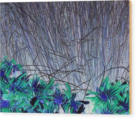Venus Blue Botanical Wood Print