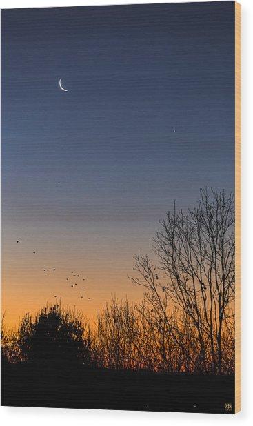 Venus, Mercury And The Moon Wood Print