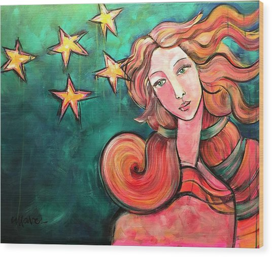 Wood Print featuring the painting Venus Of The Stars by Laurie Maves ART