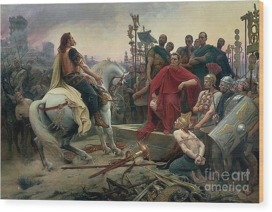 Vercingetorix Throws Down His Arms At The Feet Of Julius Caesar Wood Print