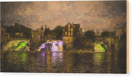 Vergennes Falls Lit Up Wood Print