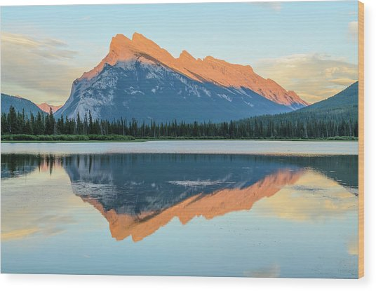 Vermillion Lakes Wood Print