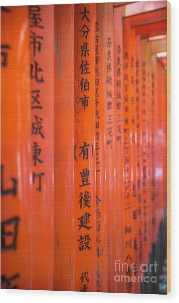 Vermillion Torii I Wood Print