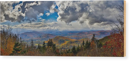 Vermont Autumn From Mt. Ascutney Wood Print