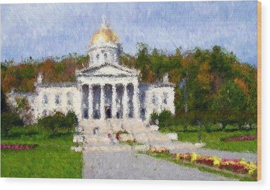 Vermont Capital Wood Print by Ralph Liebstein