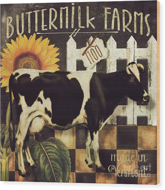 Vermont Farms Cow Wood Print