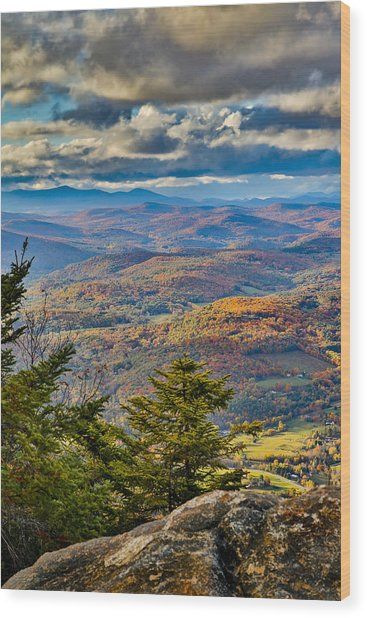 Vermont Foliage From Mt. Ascutney Wood Print