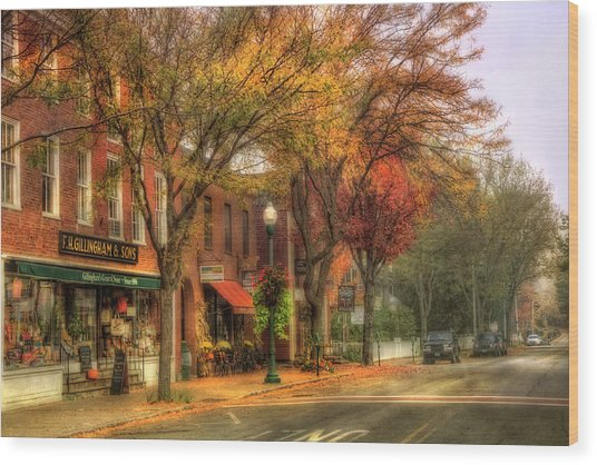 Vermont General Store In Autumn - Woodstock Vt Wood Print