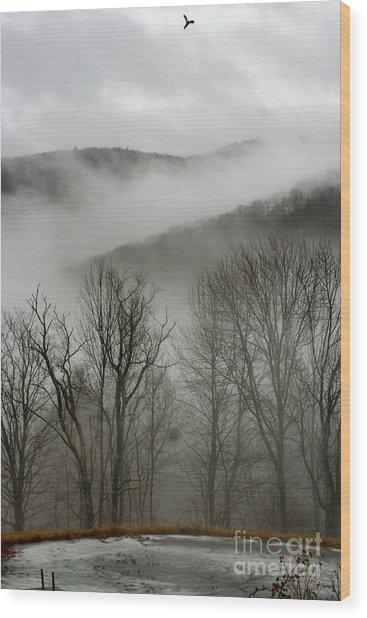 Vermont Mist Wood Print by Paula Deutz